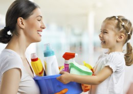 happy family do the cleaning